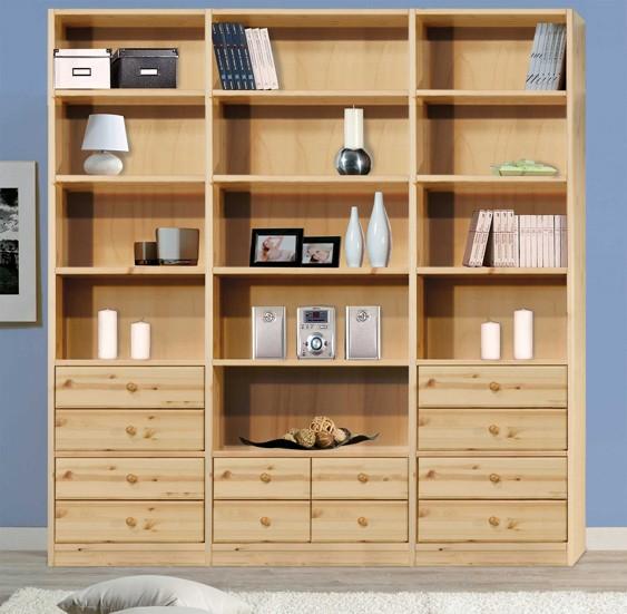 Soggiorni in pino libreria woodday h234 arredamenti rustici for Arredamenti rustici in pino