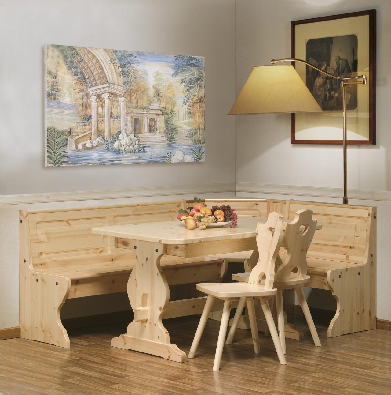 Cristalliere in pino angolo sala tirolese arredamenti for Tavolo cucina con panca