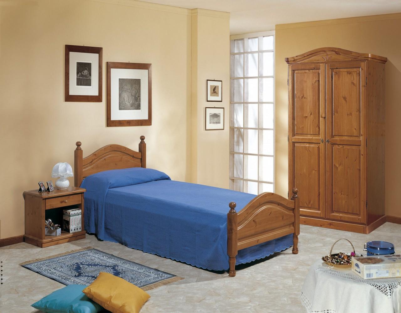 Camere da Letto in pino, Camera Ortisei singola, Arredamenti Rustici