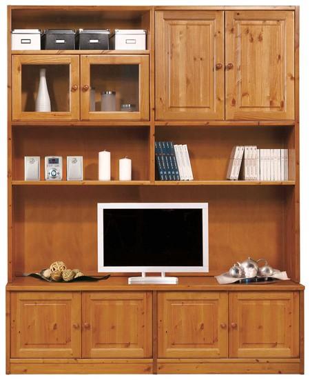 Librerie componibili rustiche libreria soggiorno l189 for Librerie in legno componibili