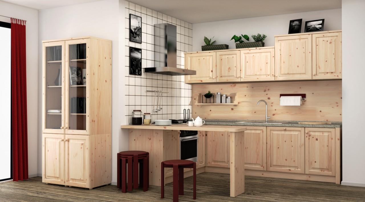 Cucine rustica, Cucina angolare in pino massiccio, Arredamenti Rustici